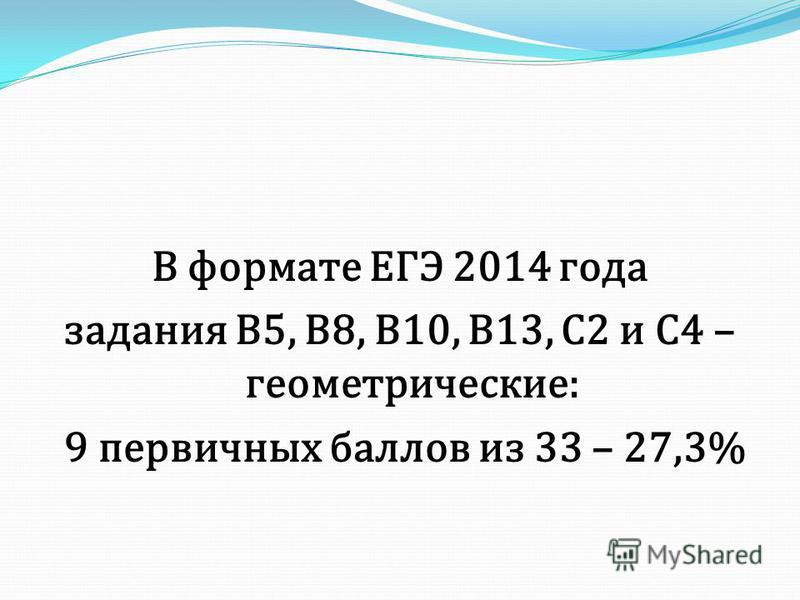 В формате ЕГЭ 2014 года задания В5, В8, В10, В13, С2 и С4 – геометрические: 9 первичных баллов из 33 – 27,3%