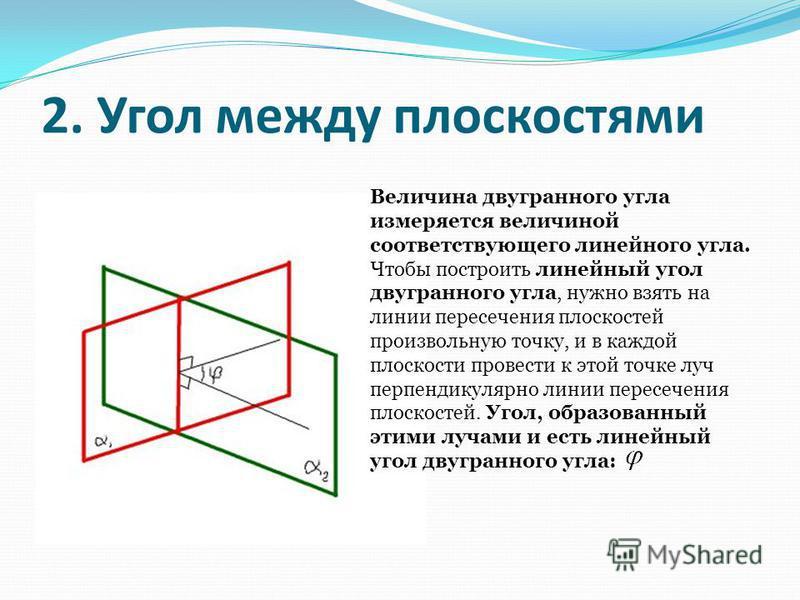 2. Угол между плоскостями Величина двугранного угла измеряется величиной соответствующего линейного угла. Чтобы построить линейный угол двугранного угла, нужно взять на линии пересечения плоскостей произвольную точку, и в каждой плоскости провести к