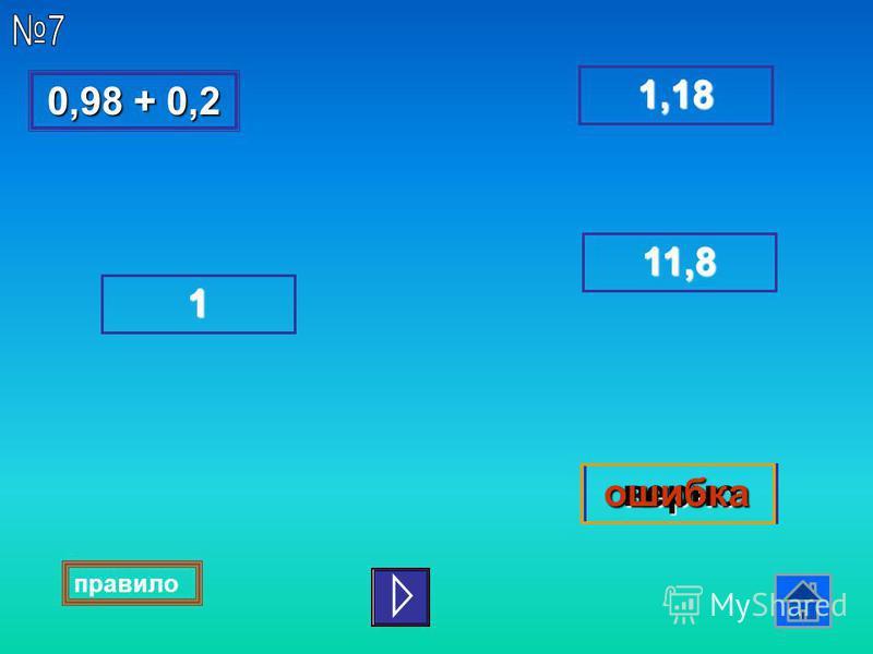 0,98 + 0,2 0,98 + 0,2 1,18 1111 верноошибка 1111 1111,,,, 8888 правило