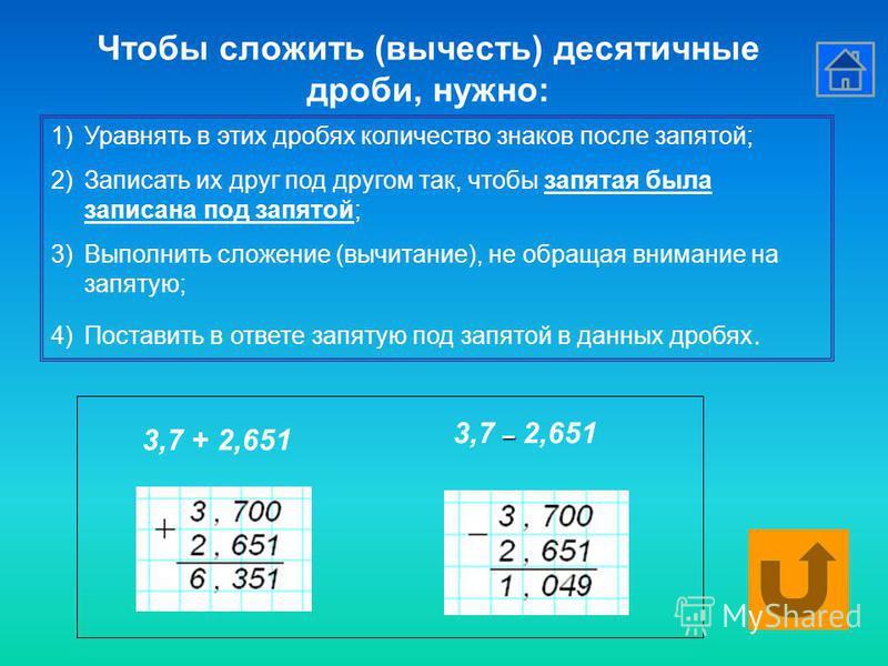 1)Уравнять в этих дробях количество знаков после запятой; 2)Записать их друг под другом так, чтобы запятая была записана под запятой; 3)Выполнить сложение (вычитание), не обращая внимание на запятую; 4)Поставить в ответе запятую под запятой в данных