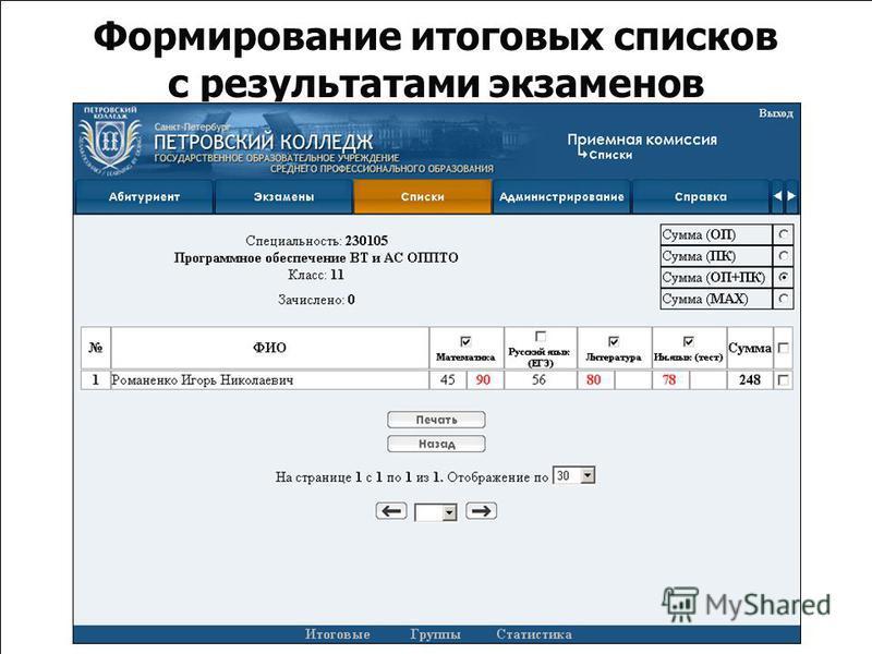 Формирование итоговых списков с результатами экзаменов