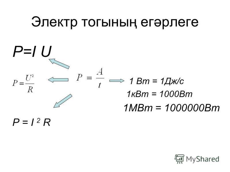 Электр тогының егәрлеге P=I U 1 Вт = 1Дж/с 1кВт = 1000Вт 1МВт = 1000000Вт P = I 2 R