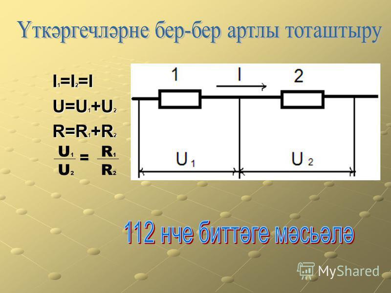 I 1 =I 2 =I I 1 =I 2 =I U=U 1 +U 2 U=U 1 +U 2 R=R 1 +R 2 R=R 1 +R 2 U1U1 R1R1 U2U2 R2R2 =