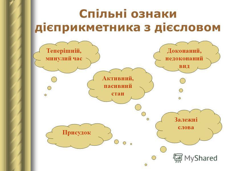 Спільні ознаки дієприкметника з дієсловом Теперішній, минулий час Доконаний, недоконаний вид Активний, пасивний стан Залежні слова Присудок
