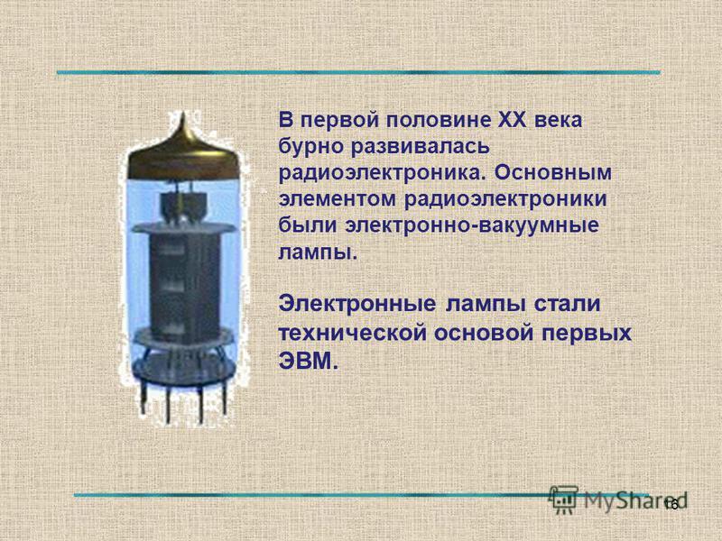 16 В первой половине ХХ века бурно развивалась радиоэлектроника. Основным элементом радиоэлектроники были электронно-вакуумные лампы. Электронные лампы стали технической основой первых ЭВМ.