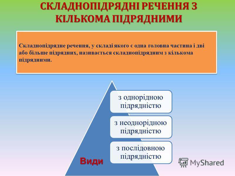 СКЛАДНОПІДРЯДНІ РЕЧЕННЯ З КІЛЬКОМА ПІДРЯДНИМИ Складнопідрядне речення, у складі якого є одна головна частина і дві або більше підрядних, називається склад  нопідрядним з кількома підрядними. з однорідною підрядністю з неоднорідною підрядністю з посл