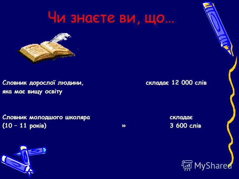 Чи знаєте ви, що… Словник дорослої людини, складає 12 000 слів яка має вищу освіту Словник молодшого школяра складає (10 – 11 років) » 3 600 слів
