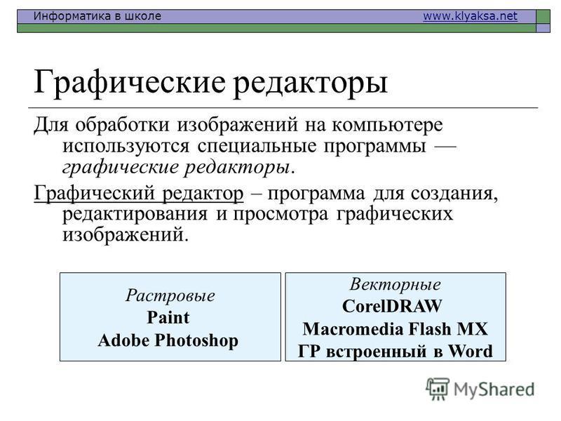 Информатика в школе www.klyaksa.netwww.klyaksa.net Графические редакторы Для обработки изображений на компьютере используются специальные программы графические редакторы. Графический редактор – программа для создания, редактирования и просмотра граф