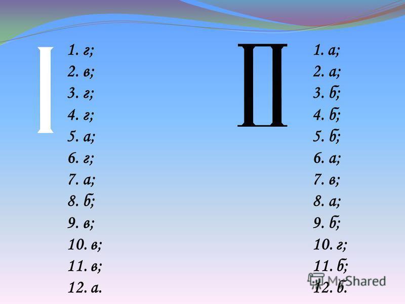 1. г; 2. в; 3. г; 4. г; 5. а; 6. г; 7. а; 8. б; 9. в; 10. в; 11. в; 12. а. 1.а; 2. а; 3. б; 4. б; 5. б; 6. а; 7. в; 8. а; 9. б; 10. г; 11. б; 12. б.