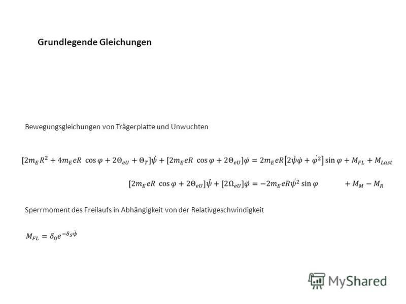 Bewegungsgleichungen von Trägerplatte und Unwuchten Grundlegende Gleichungen Sperrmoment des Freilaufs in Abhängigkeit von der Relativgeschwindigkeit
