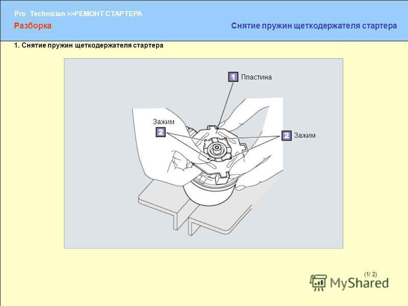 (1/2) Pro Technician >>РЕМОНТ СТАРТЕРА (1/ 2) Пластина Зажим Разборка Снятие пружин щеткодержателя стартера 1. Снятие пружин щеткодержателя стартера