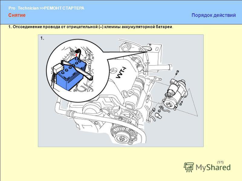 (1/2) Pro Technician >>РЕМОНТ СТАРТЕРА (1/1) 1. Отсоединение провода от отрицательной (–) клеммы аккумуляторной батареи. Снятие Порядок действий