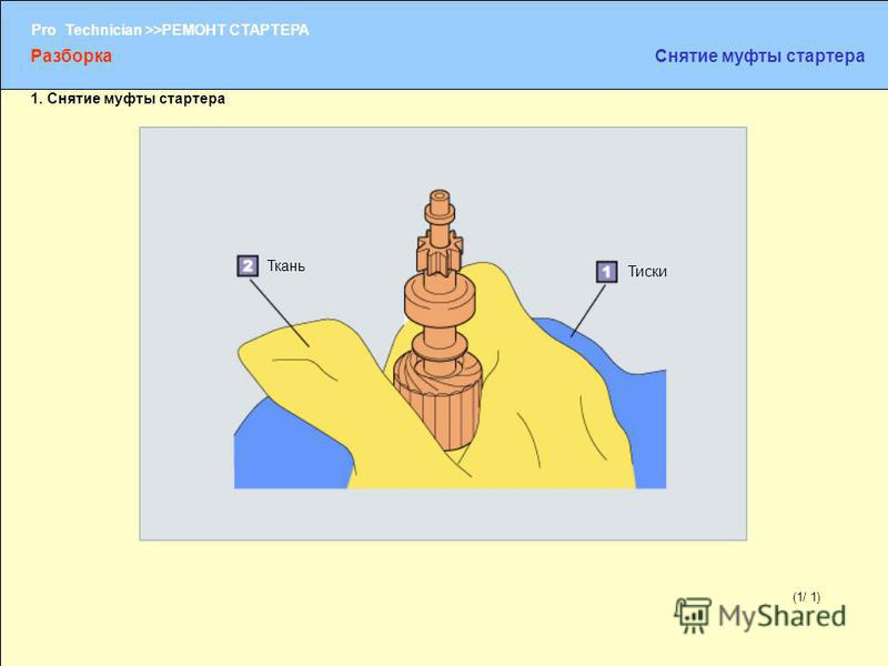(1/2) Pro Technician >>РЕМОНТ СТАРТЕРА (1/ 1) Тиски Ткань Разборка Снятие муфты стартера 1. Снятие муфты стартера