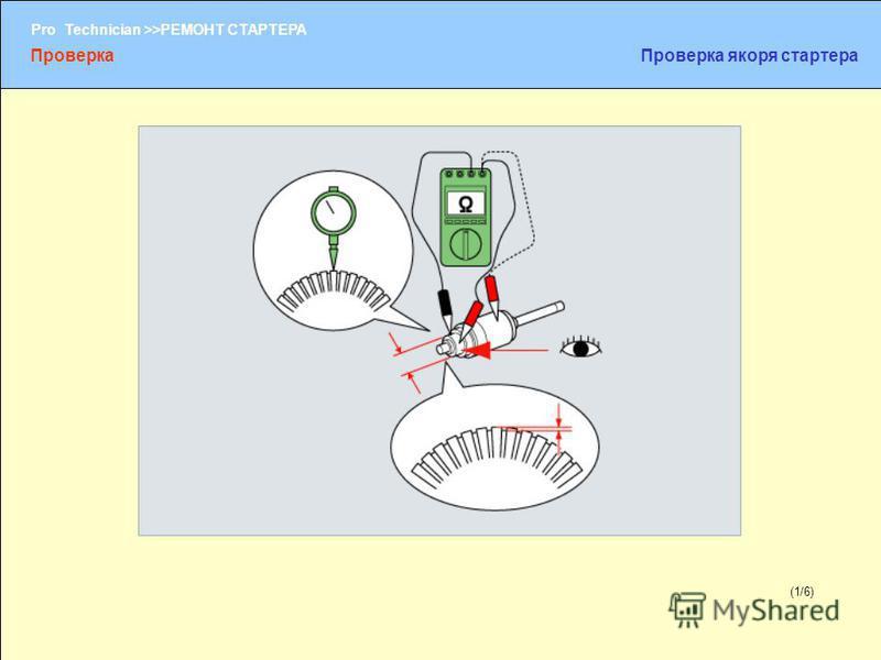 (1/2) Pro Technician >>РЕМОНТ СТАРТЕРА (1/6) Проверка Проверка якоря стартера