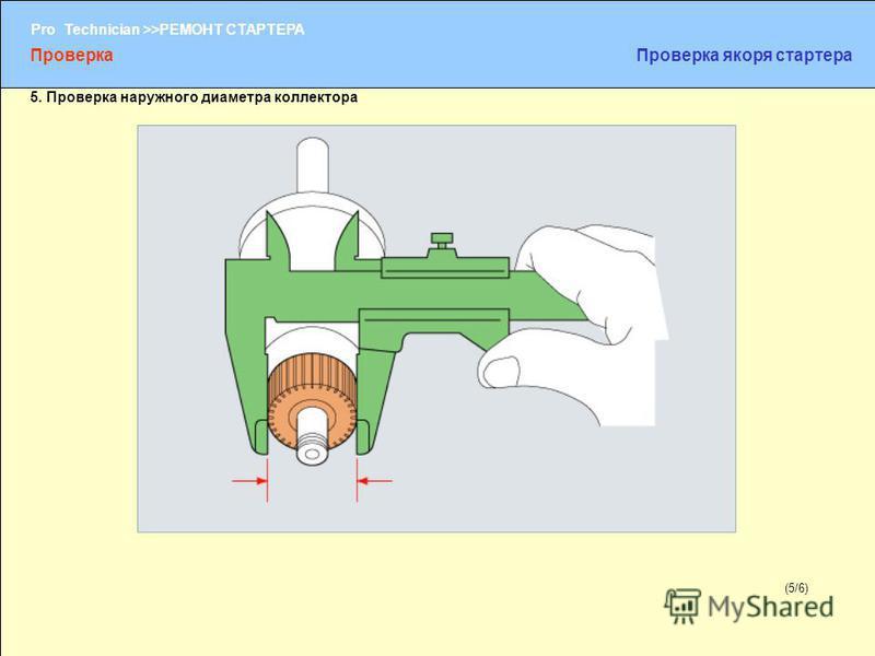 (1/2) Pro Technician >>РЕМОНТ СТАРТЕРА (5/6) 5. Проверка наружного диаметра коллектора Проверка Проверка якоря стартера
