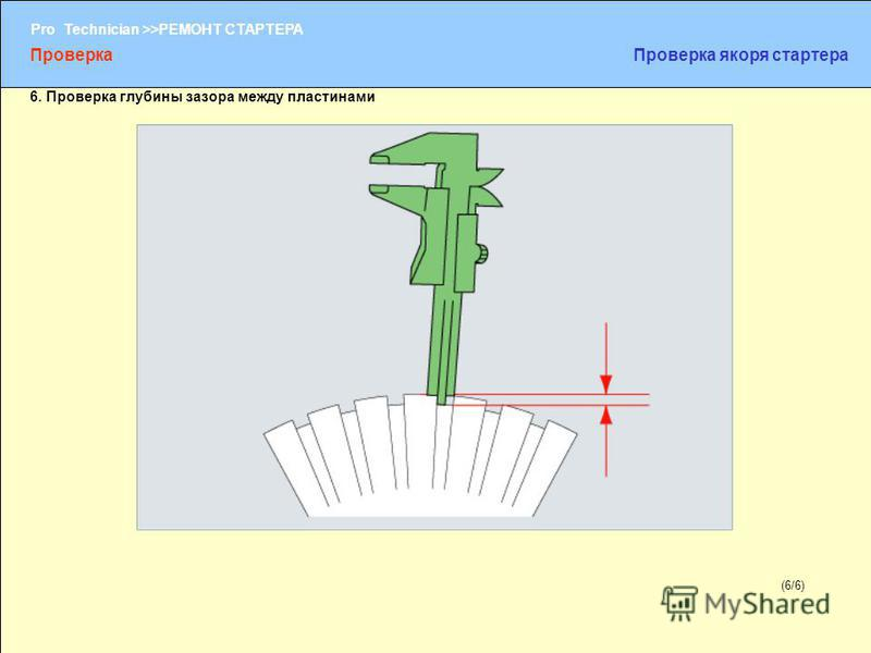(1/2) Pro Technician >>РЕМОНТ СТАРТЕРА (6/6) 6. Проверка глубины зазора между пластинами Проверка Проверка якоря стартера