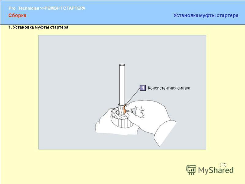(1/2) Pro Technician >>РЕМОНТ СТАРТЕРА (1/2) Консистентная смазка Сборка Установка муфты стартера 1. Установка муфты стартера