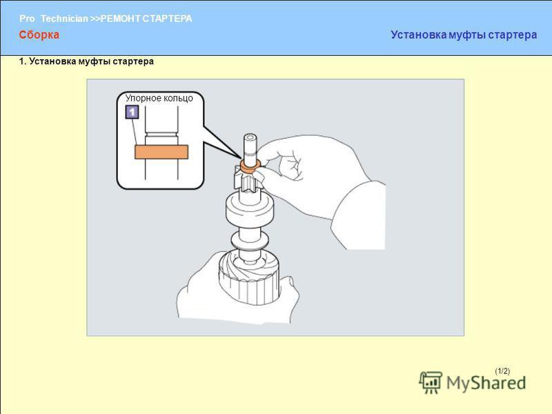 (1/2) Pro Technician >>РЕМОНТ СТАРТЕРА (1/2) Упорное кольцо Сборка Установка муфты стартера 1. Установка муфты стартера