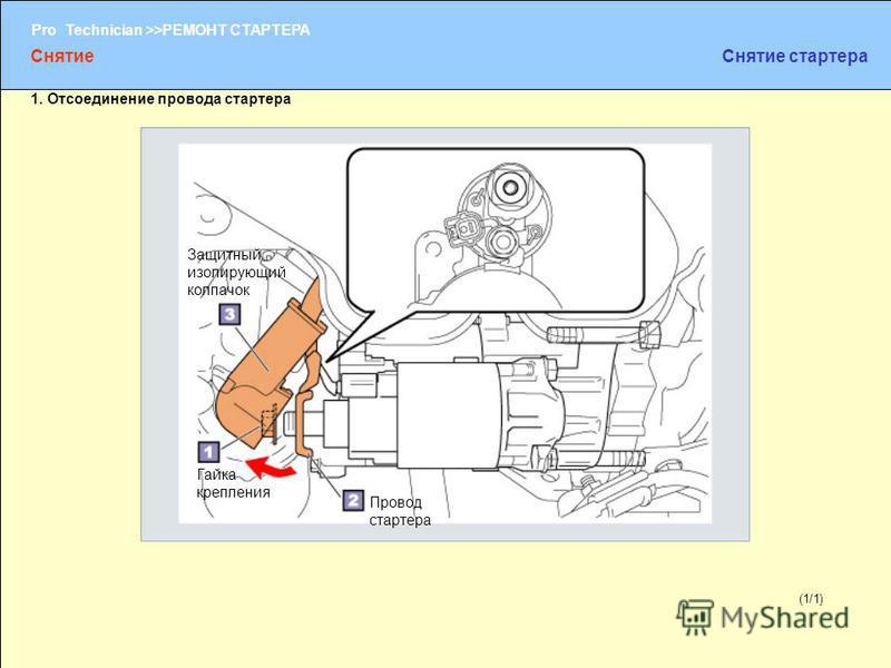 (1/2) Pro Technician >>РЕМОНТ СТАРТЕРА (1/1) 1. Отсоединение провода стартера Защитный изолирующий колпачок Гайка крепления Провод стартера Снятие Снятие стартера