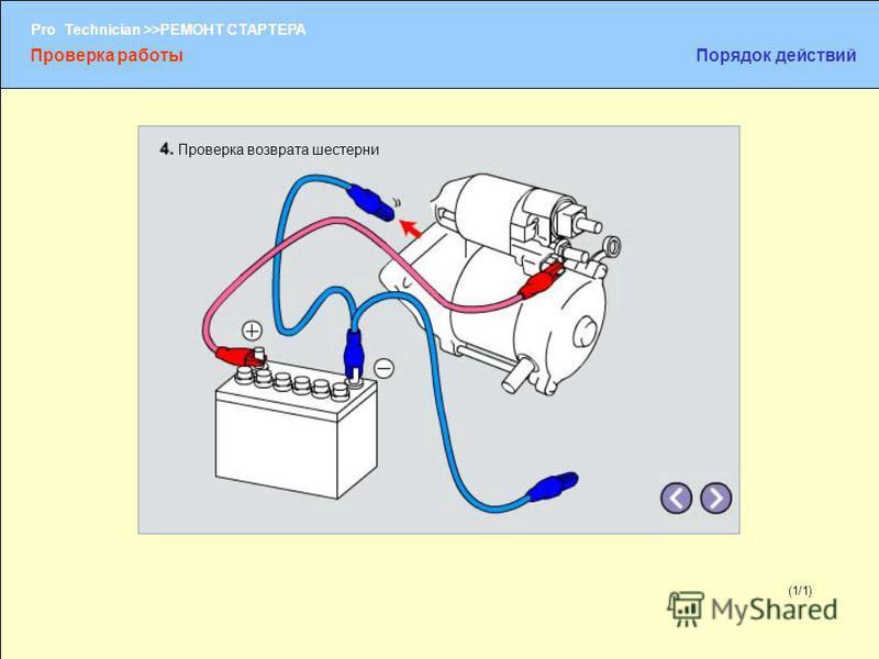 (1/2) Pro Technician >>РЕМОНТ СТАРТЕРА (1/1) Проверка возврата шестерни Проверка работы Порядок действий