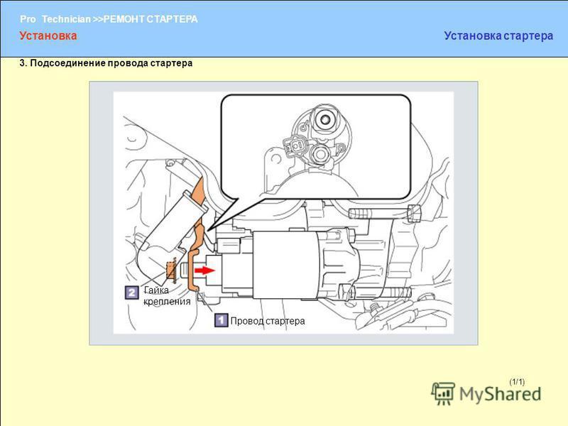(1/2) Pro Technician >>РЕМОНТ СТАРТЕРА (1/1) 3. Подсоединение провода стартера Провод стартера Гайка крепления Установка Установка стартера