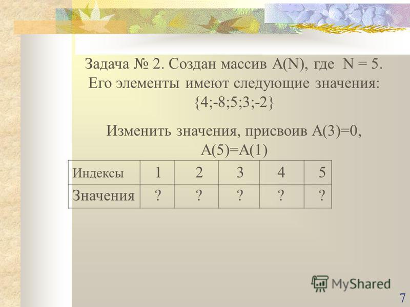 7 Задача 2. Создан массив А(N), где N = 5. Его элементы имеют следующие значения: {4;-8;5;3;-2} Изменить значения, присвоив A(3)=0, A(5)=A(1) Индексы 12345 Значения?????