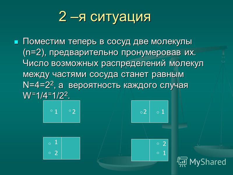 2 –я ситуация Поместим теперь в сосуд две молекулы (n=2), предварительно пронумеровав их. Число возможных распределений молекул между частями сосуда станет равным N=4=2 2, а вероятность каждого случая W = 1/4 = 1/2 2. Поместим теперь в сосуд две моле