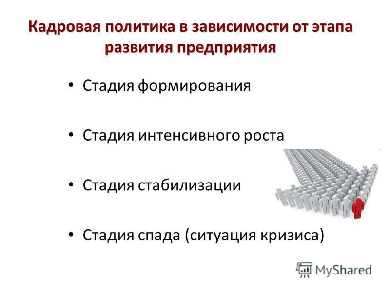 Кадровая политика в зависимости от этапа развития предприятия Стадия формирования Стадия интенсивного роста Стадия стабилизации Стадия спада (ситуация кризиса)
