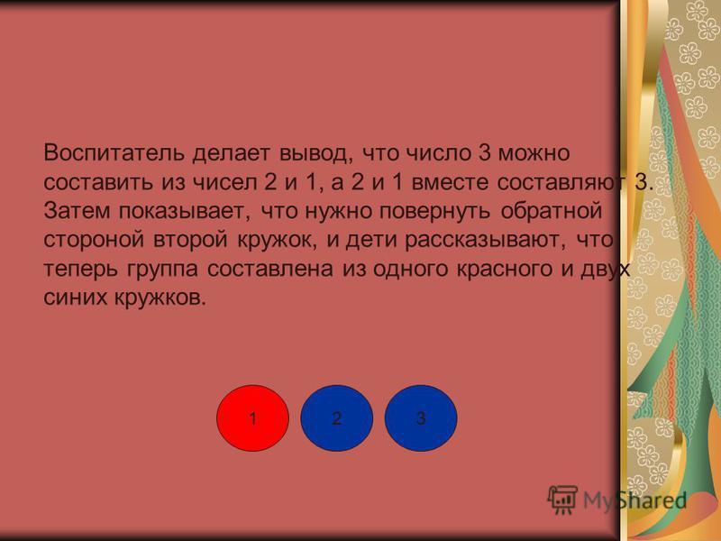 Воспитатель делает вывод, что число 3 можно составить из чисел 2 и 1, а 2 и 1 вместе составляют 3. Затем показывает, что нужно повернуть обратной стороной второй кружок, и дети рассказывают, что теперь группа составлена из одного красного и двух сини