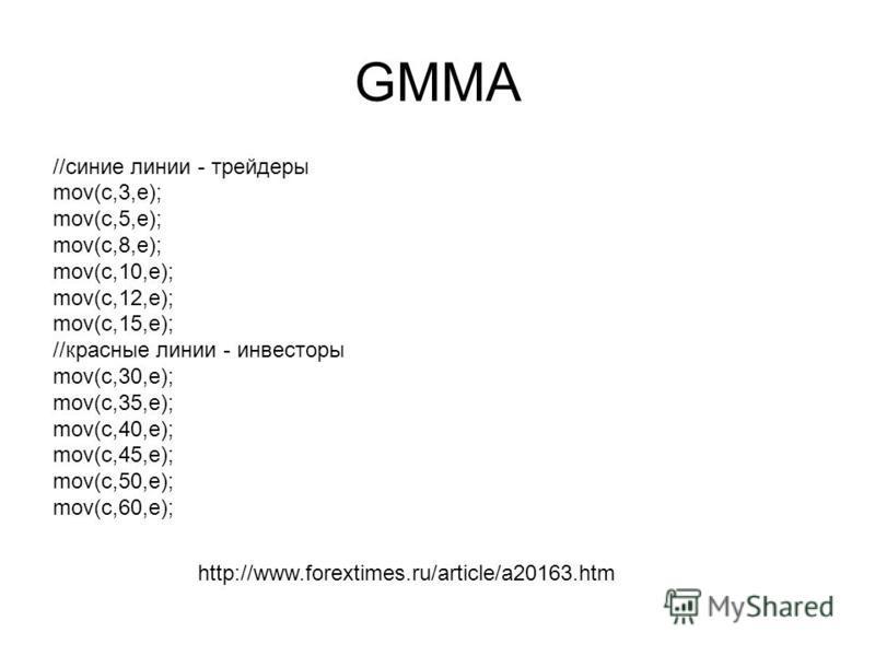 GMMA //синие линии - трейдеры mov(c,3,e); mov(c,5,e); mov(c,8,e); mov(c,10,e); mov(c,12,e); mov(c,15,e); //красные линии - инвесторы mov(c,30,e); mov(c,35,e); mov(c,40,e); mov(c,45,e); mov(c,50,e); mov(c,60,e); http://www.forextimes.ru/article/a20163