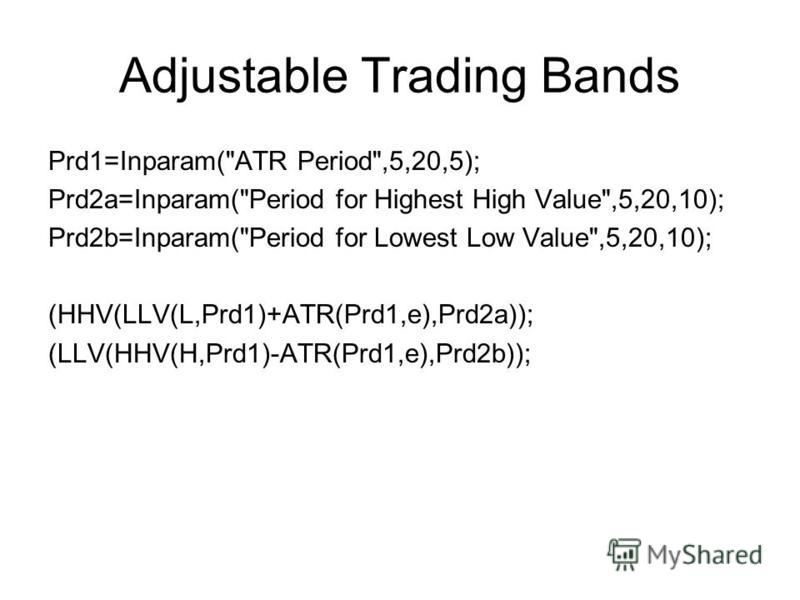 Adjustable Trading Bands Prd1=Inparam(ATR Period,5,20,5); Prd2a=Inparam(Period for Highest High Value,5,20,10); Prd2b=Inparam(Period for Lowest Low Value,5,20,10); (HHV(LLV(L,Prd1)+ATR(Prd1,e),Prd2a)); (LLV(HHV(H,Prd1)-ATR(Prd1,e),Prd2b));
