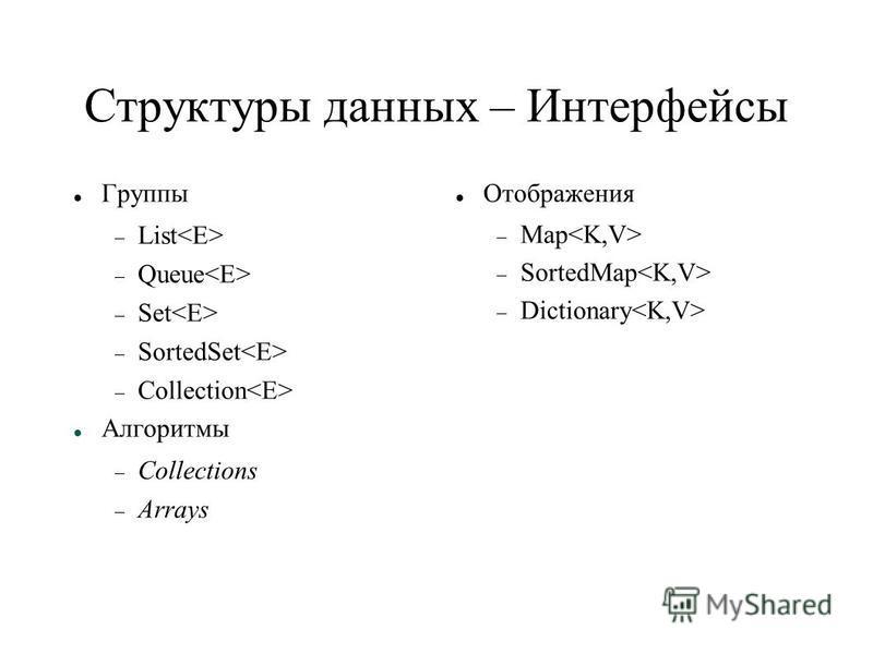 Структуры данных – Интерфейсы Группы List Queue Set SortedSet Collection Алгоритмы Collections Arrays Отображения Map SortedMap Dictionary