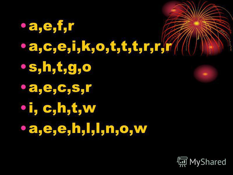 a,e,f,r a,c,e,i,k,o,t,t,t,r,r,r s,h,t,g,o a,e,c,s,r i, c,h,t,w a,e,e,h,l,l,n,o,w