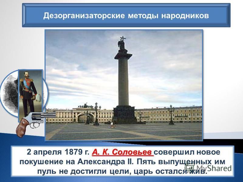 Дезорганизаторские методы народников А. К. Соловьев 2 апреля 1879 г. А. К. Соловьев совершил новое покушение на Александра II. Пять выпущенных им пуль не достигли цели, царь остался жив.