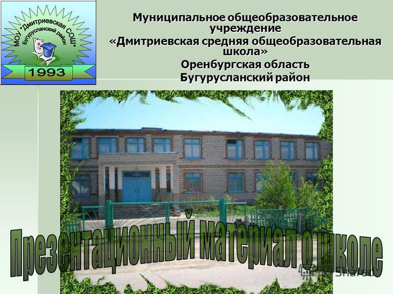 1 Муниципальное общеобразовательное учреждение «Дмитриевская средняя общеобразовательная школа» Оренбургская область Бугурусланский район