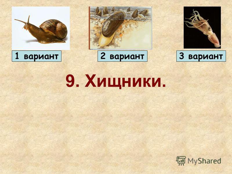 9. Хищники. 1 вариант 2 вариант 3 вариант