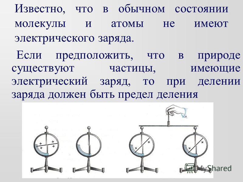 Известно, что в обычном состоянии молекулы и атомы не имеют электрического заряда. Если предположить, что в природе существуют частицы, имеющие электрический заряд, то при делении заряда должен быть предел деления