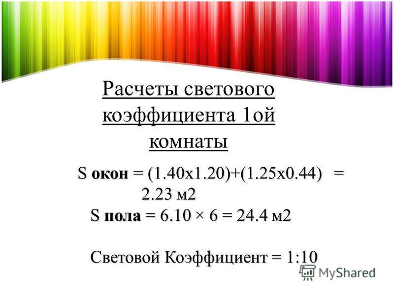Расчеты светового коэффициента 1 ой комнаты S окон = (1.40x1.20)+(1.25x0.44) = 2.23 м 2 S окон = (1.40x1.20)+(1.25x0.44) = 2.23 м 2 S пола = 6.10 × 6 = 24.4 м 2 S пола = 6.10 × 6 = 24.4 м 2 Световой Коэффициент = 1:10 Световой Коэффициент = 1:10