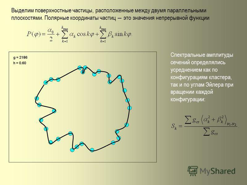 Выделим поверхностные частицы, расположенные между двумя параллельными плоскостями. Полярные координаты частиц это значения непрерывной функции Спектральные амплитуды сечений определялись усреднением как по конфигурациям кластера, так и по углам Эйле