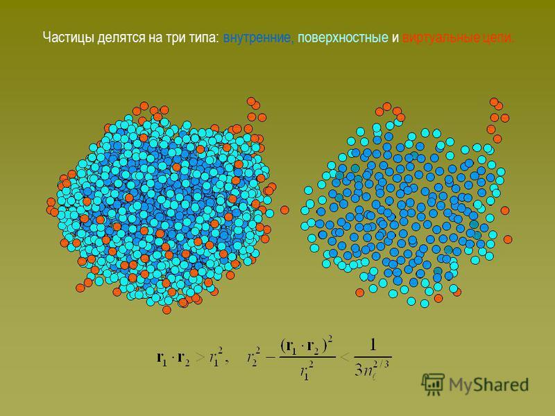 Частицы делятся на три типа: внутренние, поверхностные и виртуальные цепи.