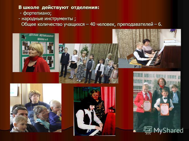 В школе действуют отделения: - фортепиано; - народные инструменты ; Общее количество учащихся – 40 человек, преподавателей – 6.