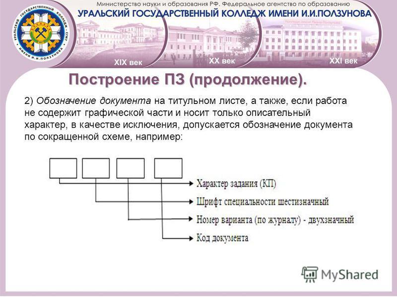 ПостроениеПЗ (продолжение). Построение ПЗ (продолжение). 2) Обозначение документа на титульном листе, а также, если работа не содержит графической части и носит только описательный характер, в качестве исключения, допускается обозначение документа по