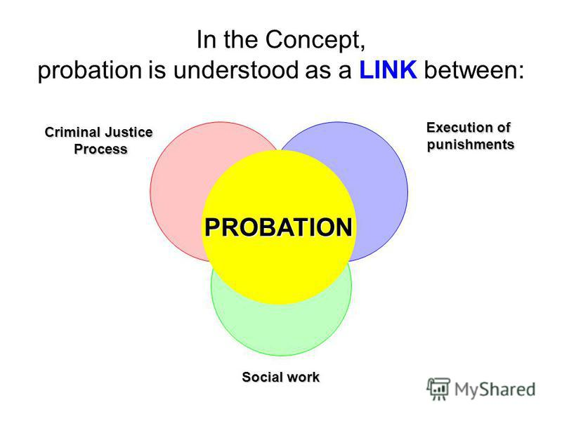 In the Concept, probation is understood as a LINK between: PROBATION Criminal Justice Process Execution of punishments Social work