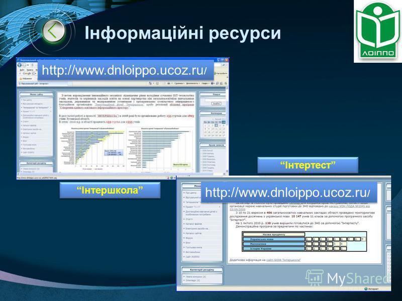 LOGO Інформаційні ресурси http://www.dnloippo.ucoz.ru / Інтершкола Інтертест