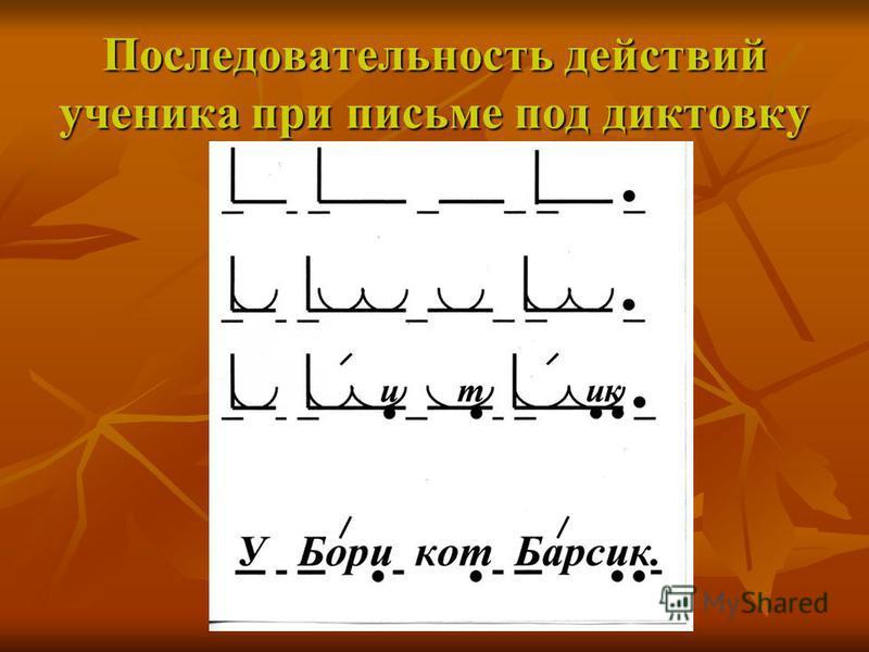 Последовательность действий ученика при письме под диктовку
