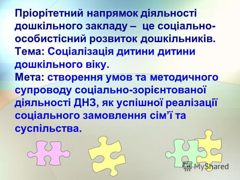 Пріорітетний напрямок діяльності дошкільного закладу – це соціально- особистісний розвиток дошкільників. Тема: Соціалізація дитини дитини дошкільного віку. Мета: створення умов та методичного супроводу соціально-зорієнтованої діяльності ДНЗ, як успіш