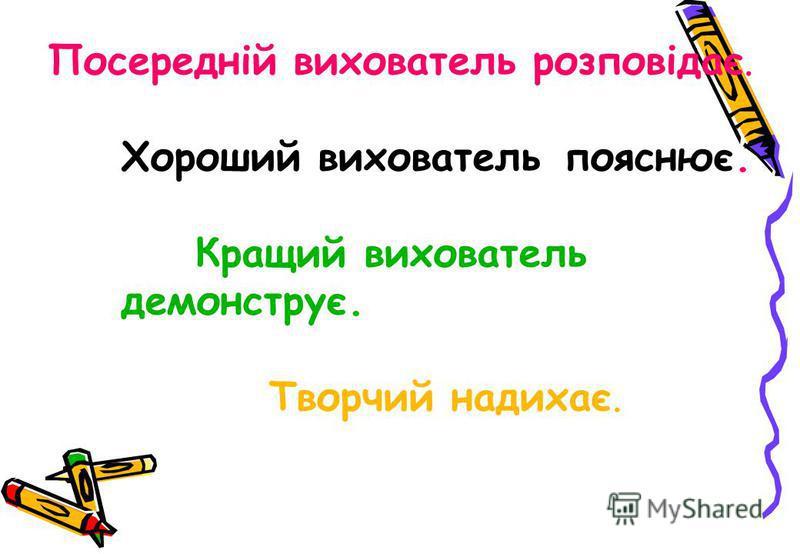 Посередній вихователь розповідає. Хороший вихователь пояснює. Кращий вихователь демонструє. Творчий надихає.