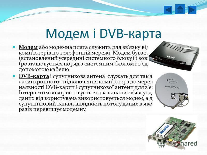 Модем і DVB-карта Модем або модемна плата служить для зв'язку віддалених комп'ютерів по телефонній мережі. Модем буває внутрішній (встановлений усередині системного блоку) і зовнішній (розташовується поряд з системним блоком і з'єднується з ним за до