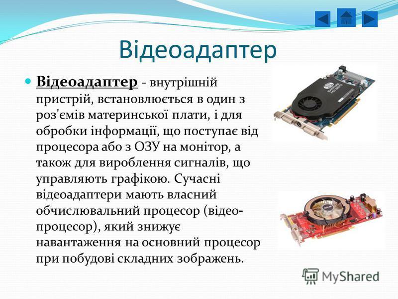Відеоадаптер Відеоадаптер - внутрішній пристрій, встановлюється в один з роз'ємів материнської плати, і для обробки інформації, що поступає від процесора або з ОЗУ на монітор, а також для вироблення сигналів, що управляють графікою. Сучасні відеоадап