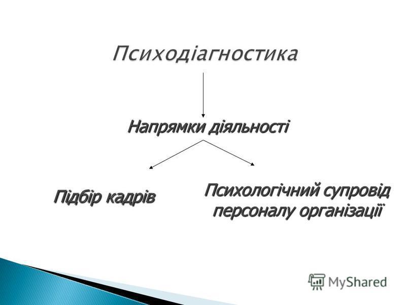 Напрямки діяльності Психологічний супровід персоналу організації Підбір кадрів